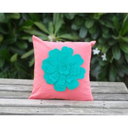 Coral Flower Cushion Cover MYC-06, pack of 1, pink