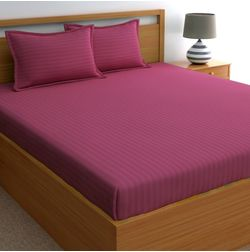 Dreamscape 220TC, Magenta Pink Satin Stripe 100% Cotton Double Bedsheets, pink, double