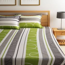 Dreamscape 100% Cotton 144TC One Bed sheet With Two Pillow Covers, green, double