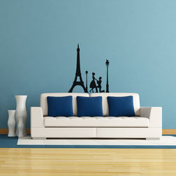 Kakshyaachitra Romance At Eiffel Tower Wall Stickers For Bedroom And Living Room, 20 24 inches
