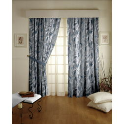 Roseberry Floral Readymade Curtain - 6, long door, grey