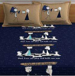 My Room exclusive couple cute bed sheets with quotes & characters, 210TC satin premium bedsheets with 2 pillow covers, queen, (MR09), blue, double