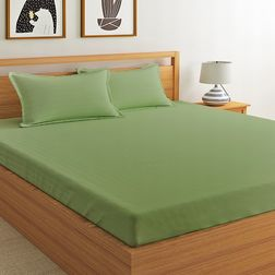 Satin Bed sheet with Two Pillowcovers, 100% Cotton 400 Thread Count, double, green
