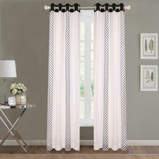 Sheer Curtains Dreamscape, Geometric Black Sheer Curtains, black, door