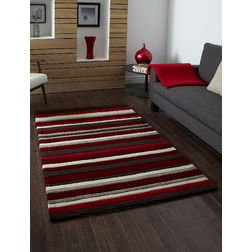 Floor Carpet and Rugs Hand Tufted, AC Concept Geometric Red Carpets Online -B1-10-L, 3ftx5ft, red