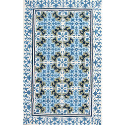 Floor Carpet and Rugs Hand Tufted, The Rug Concept Blue Carpets Online Tbilisi 6067-S, 3ft x 5ft, blue