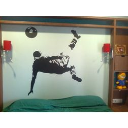 Kakshyaachitra Pele Bicycle Kick Wall Stickers For Bedroom And Living Room, 54 60 inches