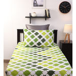 Home Ecstasy 100% Cotton 140TC Single Bed sheet With One Pillow Cover, green, single