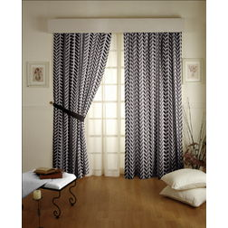 Shashank Geometric Readymade Curtain - 11Bluelack, long door, black