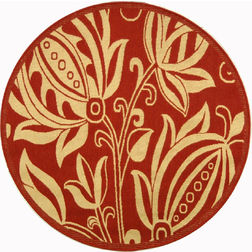 Floor Carpet and Rugs Hand Tufted, AC Concept FloralRed Carpets Online - RNDC-100-L, 3ftx5ft, red