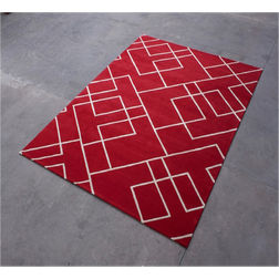 Floor Carpet and Rugs Hand Tufted AC Concept Geometric Red Carpets Online - A1-24-L, 3ftx5ft, red