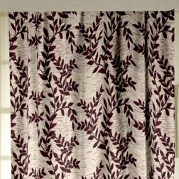 Raindrop Floral Readymade Curtain - 25, door, red