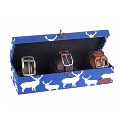Deer Watch and Belt Organiser Box - HS132, blue