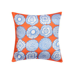 My Room Satin Orange and Blue Floral Cushion Covers, pack of 1, orange