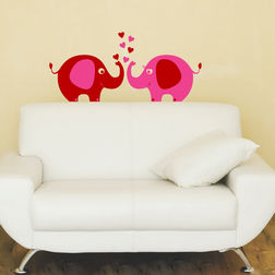 Wall Sticker For Kids Chipakk Elephant Pair Pink AN7AS