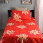 Home Ecstasy 100% Cotton 140TC Single Bed sheet With One Pillow Cover, red, single
