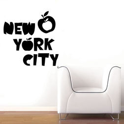Kakshyaachitra Apple New York Wall Stickers For Bedroom And Living Room, 36 36 inches