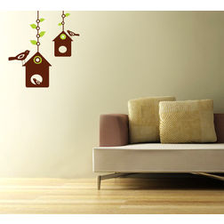 Kakshyaachitra Bird House Wall Stickers For Bedroom And Living Room, 18 24 inches