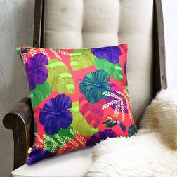 The Elephant Company Floral Hibiscus Designer Cushion Covers, purple