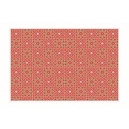 Dreamscape Geometric Red Table Mat Set - 6 Pieces, pink, 21.5 in