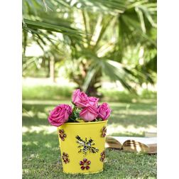 Aasra Decor Handpainted Planter with Bee & Flower Metal Patch GardenPots & Planters, yellow