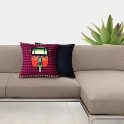 The Elephant Company New Rickshaw Modern Cushion Covers, purple