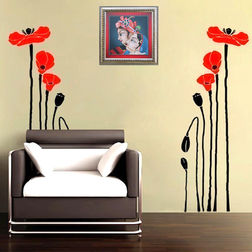 Kakshyaachitra Bright Red Poppies Wall Stickers For Bedroom And Living Room, 48 18 inches