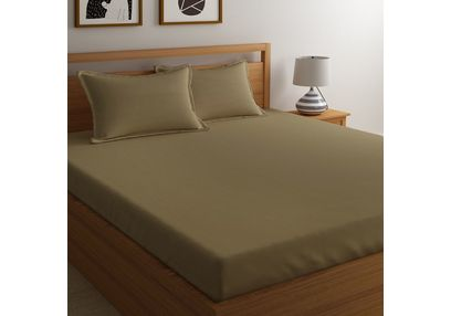 Satin Bed sheet 300 Thread Count with Two Pillowcovers, 100% Cotton,  brown, double