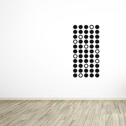 Kakshyaachitra 55 Circle design Wall Stickers For Bedroom And Living Room, black, 24 48 inches