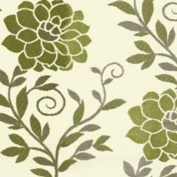 Romania Floral Curtain Fabric - 14, green, fabric