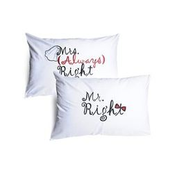 Mr & Mrs Right Pillow Cover MYC-84, pack of 2, white