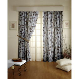 Roseberry Floral Readymade Curtain - 16, grey, long door
