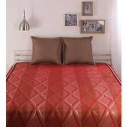 Dreamscape Polycotton Orange Geometric Bedcover, orange, without pillow cover
