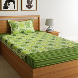 100% Cotton 144TC Geometric Designs Bed Sheet with 1 Pillow Covers, single, green