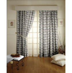 Zoya Geometric Readymade Curtain - 703, grey, door