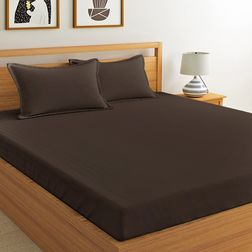 Satin Bed sheet 600 Thread Count with Two Pillowcovers, 100% Cotton, double, brown