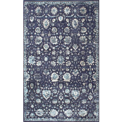 Floor Carpet and Rugs Hand Tufted, The Rug Concept Navy Carpets Online Tbilisi 6058-S, 3ft x 5ft, navy blue
