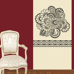 Kakshyaachitra Conventional Floral Wall Stickers For Bedroom And Living Room, 24 24 inches