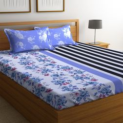 100% Cotton Bedsheets For Double Bed With 2 Pillow Covers, Dreamscape 140 TC Floral Printed Bedsheet, double, violet