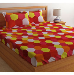 100% Cotton Double Bedsheet Online Sale, 140TC Double Bed Sheet With Pillow Cover, Double Bed Sheets Sale by Home Ecstasy, double,  red