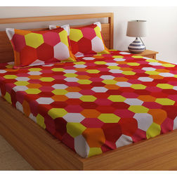 100% Cotton Double Bedsheet Online Sale, 140TC Double Bed Sheet With Pillow Cover, Double Bed Sheets Sale by Home Ecstasy,  red, double