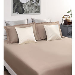 Dreamscape 100% Cotton 400TC High Thread Count Sateen Bed Sheet with 2 Pillow Covers, khaki, double