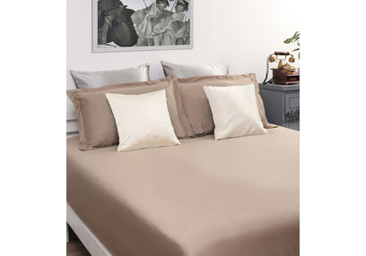 Dreamscape 100% Cotton 400TC High Thread Count Sateen Bed Sheet with 2 Pillow Covers, double, khaki