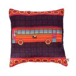 The Elephant Company Transport Bus Square Home Cushion Covers, purple