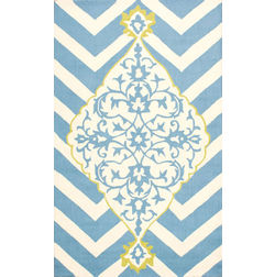 Floor Carpet and Rugs Hand Tufted, The Rug Concept Blue Carpets Online Tbilisi 6077-S, blue, 3ft x 5ft