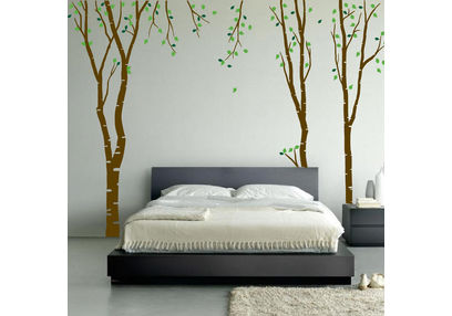 KakshyaaChitra Birch Tree Wall decal with Leaves