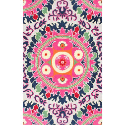 Floor Carpet and Rugs Hand Tufted, The Rug Concept Pink Carpets Online Tbilisi 6004-S, 3ft x 5ft, pink