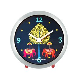 The Elephant Company Elephant Carnival Motif Chrome Home Alarm Clocks, green