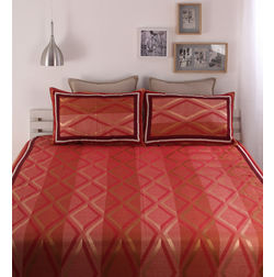 Dreamscape Polycotton Orange Geometric Bedcover, with 2  pillow covers, orange