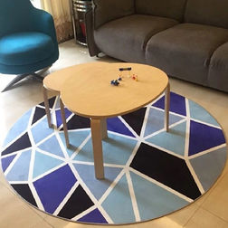 Floor Carpet and Rugs Hand Tufted, AC Concept AbstractBlue Carpets Online - RNDC-106-L, 3ftx5ft, blue